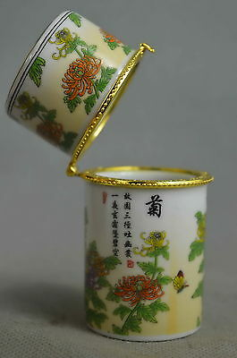 Collectible Old Porcelain Paint Delicate Flower Butterfly Noble Toothpick Box