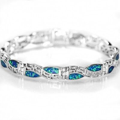 Stunning & Unusual Blue Fire Opal & 925 Sterling Silver Bracelet 20cm