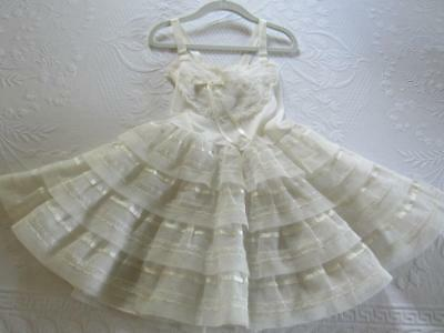 Vtg 1950s Little Girls White Tricot Nylon & LACE Full Petticoat Dress SLIP Sz 6