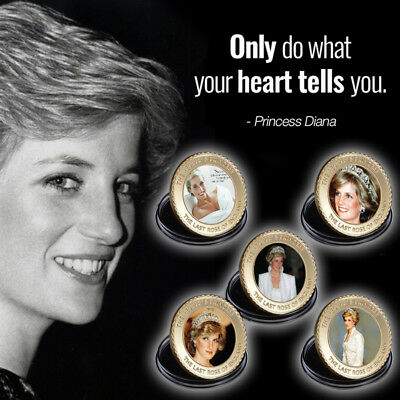 WR Princess Diana Gold Coin 5PCS Colored Portraits 20th Anniversary Set For Lady