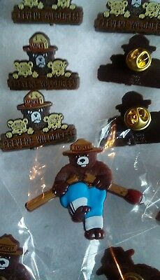 "2 pins. SMOKEY BEAR  . "" Lapel pin jewelry."" Broken match & Prevent Wildfires."