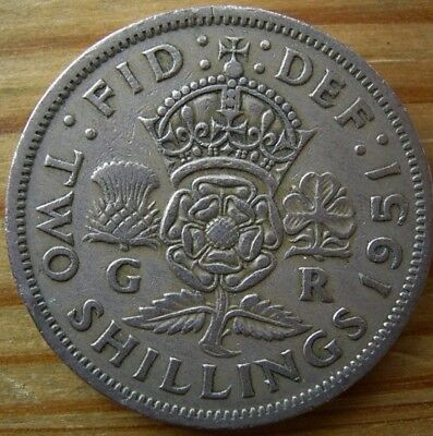 Special offer ( cheapest price) Fine Grade 1951  FLORIN  2/SHILLING COIN