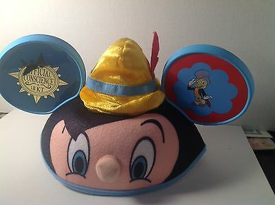 New! Disney Mouse Ears Hat Pinocchio Jiminy Cricket - Adult Size