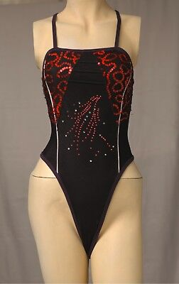 Black Dance / Ballet Thin Strap Thong Leotard for Women size 10 Small