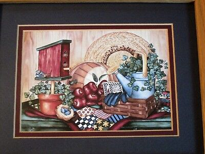 Laurie Korsgaden Birdhouse, Apples, Watering Can, Hat Framed Print Picture