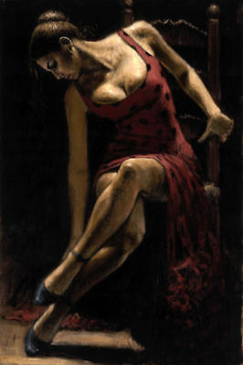 """art handmade oil painting:beautiful young woman girl seated dancer 24x36"""""""