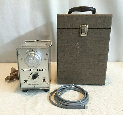 Wright Light 977 Dual Orifice Halogen Fiber Optic Light Source With Cable & Box