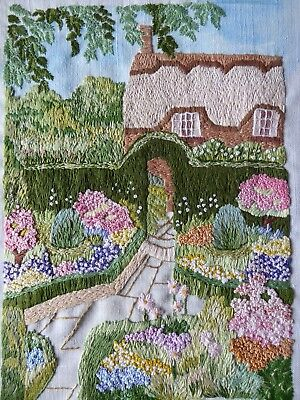 Vintage Hand Embroidered Picture Panel Stunning Thatched Cottage& Country Garden