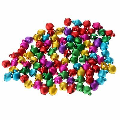 100xAluminum Beads Jingle Bells Charms Christmas Pendants Decoration Mixed Color