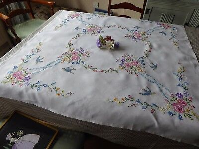 Vintage Hand Embroidered Linen Tablecloth/super Cross Stitch Florals& Bluebirds
