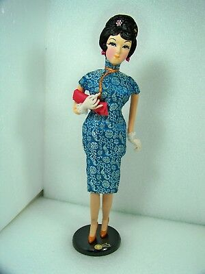 """Vintage Chinese Fashion Doll 15"""" Tall In Chinese Dress High Heels Gloves Clutch"""