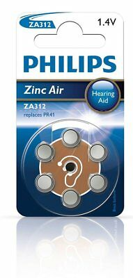 Philips Zinc Air Hearing Aid Batteries - ZA312 (Pack of 6)