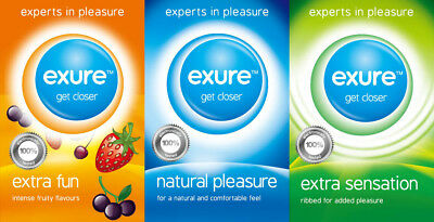 9 12 18 24 36PK Condoms from Exure Natural Flavoured Ribbed DISCREET Pleasure