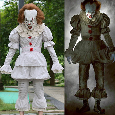 2017 Stephen King's It Pennywise Clown Cosplay Costume Fancy Outfit Full Suit