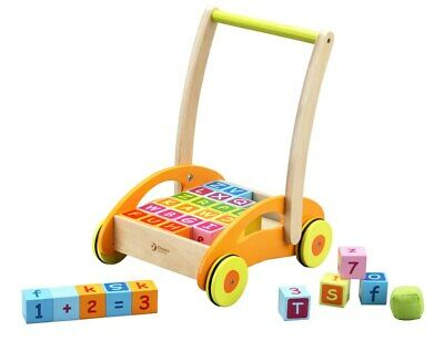 Baby Walker With Blocks by Classic World | Push Pull Toddler Kids Childrens NEW