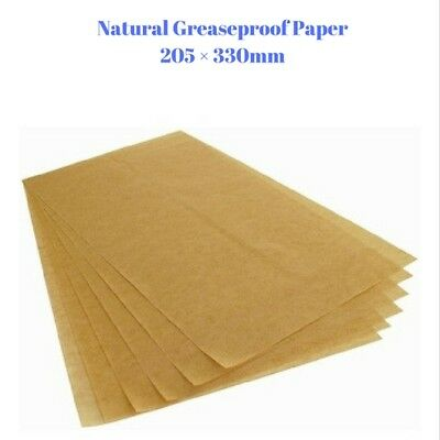 BULK 200 Sheets  Natural Greaseproof Paper - Non Stick Coating - 205 × 330 mm