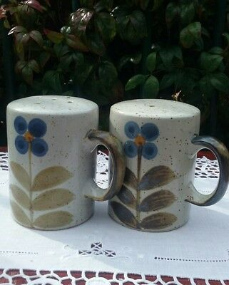 Vintage Stoneware Salt & Pepper Shakers 70's Japan