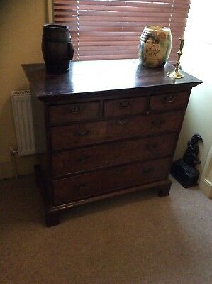 Queen Anne Walnut Veneer Chest Of Drawers Circa 1700...