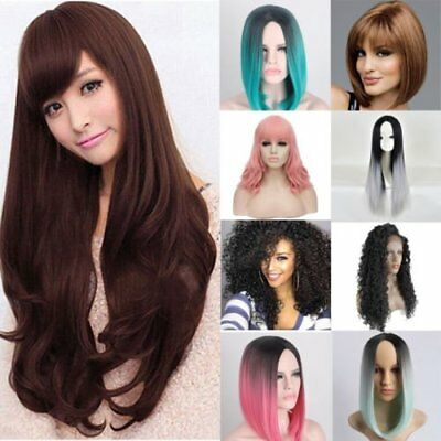 Heat Resistant Synthetic Ombre Wigs Long Straight Bob Black & Pink Wigs Wig DP