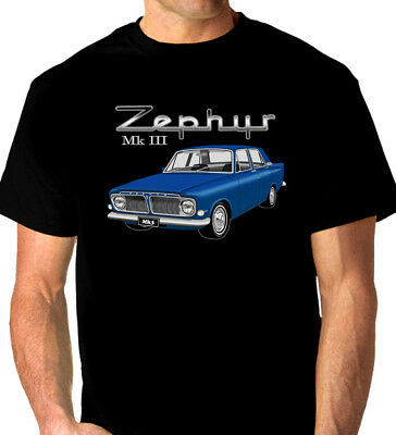 FORD  ZEPHYR  MK3   MkIII  BLACK  TSHIRT ( 8 CAR COLOURS )  BIG FIT   ALL SIZES