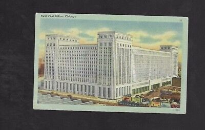 Vintage Postcard New Post Office Chicago   Old Cars