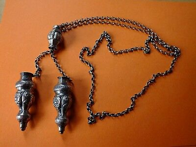 antique silver chain with knitting needle covers period around 1880-1900