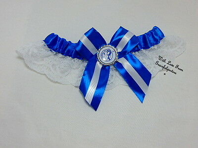 Football team lace bridal wedding garter. any team.  the lions. blue and white.