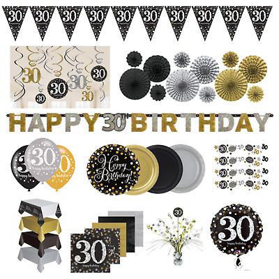 30th Birthday Party Black & Gold Decorations Tableware Plates Cups Napkin Banner