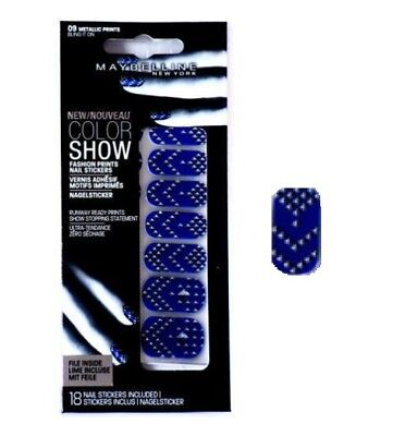 Maybelline Fashion Print Nail Stickers - Bling It On - Blue Shiny Silver (NEW)