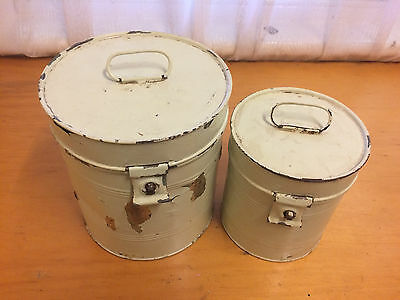 2 x vintage retro 1950s kitchen cannisters metal