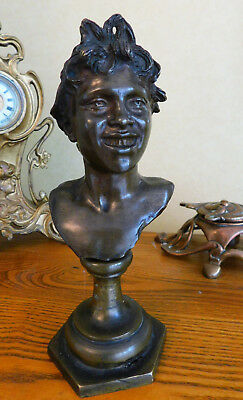 Bronze Statue Bust after Vincenzo Gemito Italian - Head of Licco Home Decor