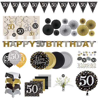 50th Birthday Party Tableware Black Gold Plates Cups Decorations Napkins Banner