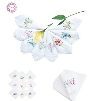 LACS White Hankies Pack Womens Embroidered Floral Cotton Lace Handkerchiefs Set