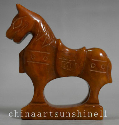 Exquisite Chinese Old Jade Handmade Carved Horse statue decorative art