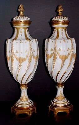 Pair Of French Urns 15 1/2 Inch Bronze Mount Antique Hand Painted