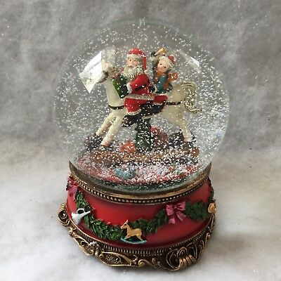Large Self Propelling Glass Snow Dome Gisela Graham Musical Father Christmas