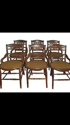 Six Vintage Lader Back Cane Bottom Chairs