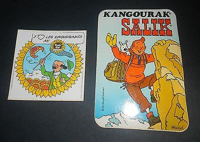 Lot de 2 autocollants TINTIN Kangourak Salik 70's & TOURNESOL Fruit d'Or 1985