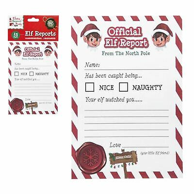25x Christmas Elf Report Cards Kids Novelty Letter From The North Pole Naughty