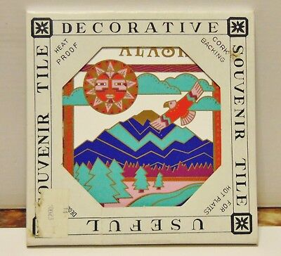 Alaska Souvenir ceramic decorative tile cork backing trivet wall hanging NIB