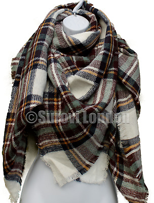 New XMAS GIFTS FOR HER Ladies Large Blanket Square Tartan Check Oversized Scarf