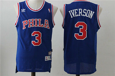 Allen Iverson Philadelphia 76ers #3 Throwback Jersey Sz S - 2XL All Stitched