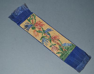 Old Bookmark Made From Old Postage Stamps with Woven Backing.