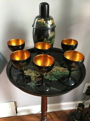 Vintage Chines/Japanese Black Lacquered Wood Martini Set 6 Goblets Tray