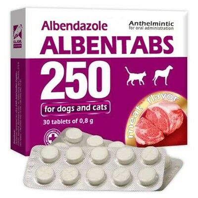 ALBENDAZOLE 25% ALBENTABS 250 MEAT FLAVOR PET DEWORMER – 30 tablets x 250 mg