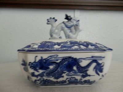 Porcelain Blue/White  Bombay covered Dish with  Decorated with Serpents and Food