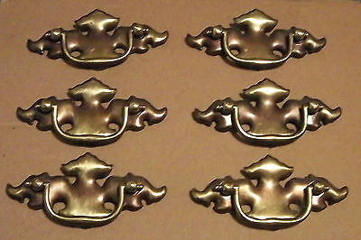 """Antique Chippendale Batwing Drawer Pulls 2 1/2"""" Bore Set Of 6 Gold Brass Steel"""