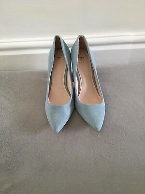 Ladies Pale Blue Leather Pointed Court Shoes Uk Size 6.5 (40) New