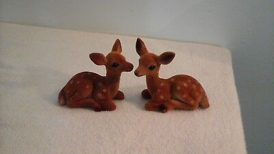 Vintage Pair Of Fuzzy Fawn Deers Laying Down Figurines