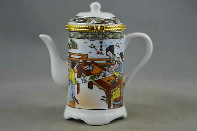 Collectable Handmade Porcelain Paint Ancient Belle Bring Happiness Toothpick Box